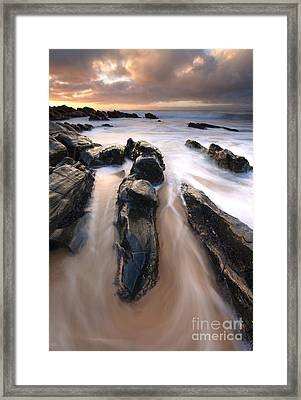 Splitting The Rocks Framed Print by Mike  Dawson