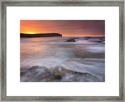 Splitting The Tides Framed Print by Mike  Dawson