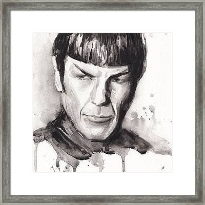 Spock Portrait Watercolor Star Trek Fan Art Framed Print by Olga Shvartsur