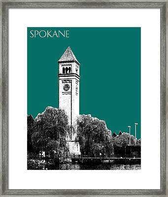 Spokane Skyline Clock Tower - Sea Green Framed Print by DB Artist