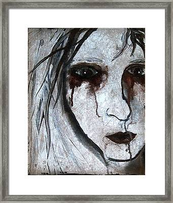 Spooky Gothic Zombie Portrait Painting Fine Art Print Framed Print by Laura  Carter