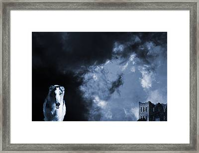 Spooky Wolflike Borzoi Hound And Old Castle Framed Print by Christian Lagereek