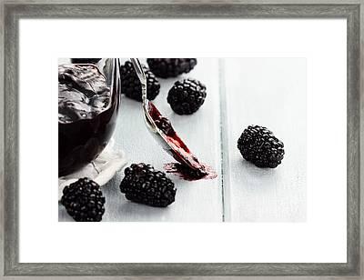 Spoon And Blackberry Jam Framed Print by Stephanie Frey