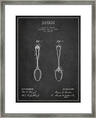 Spoon Patent From 1895 - Dark Framed Print by Aged Pixel