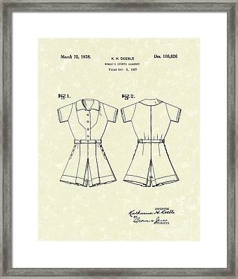 Sports Garment 1938 Patent Art Framed Print by Prior Art Design