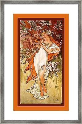 Spring Framed Print by Alphonse Maria Mucha