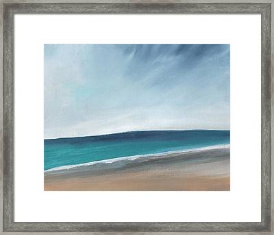 Spring Beach- Contemporary Abstract Landscape Framed Print by Linda Woods