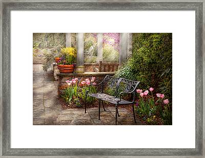 Spring - Bench - A Place To Retire  Framed Print by Mike Savad