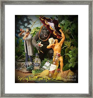 Spring Break Party Animals Framed Print by John Malone