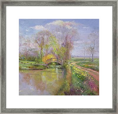 Spring Bridge Framed Print by Timothy  Easton