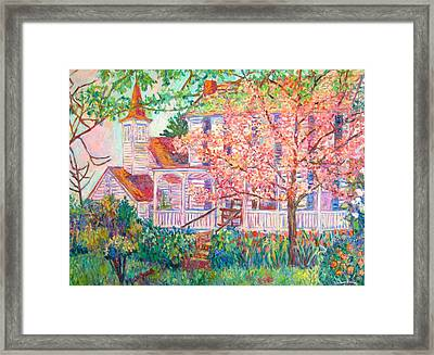 Spring Church Scene Framed Print by Kendall Kessler