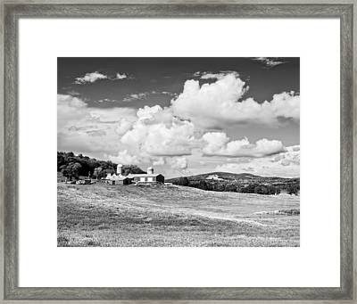 Spring Farm And Hay Field With Clouds In Maine Framed Print by Keith Webber Jr