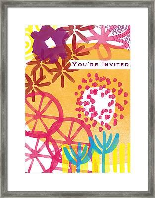 Spring Floral Invitation- Greeting Card Framed Print by Linda Woods