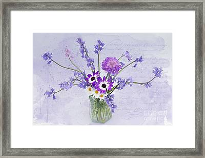 Spring Flowers In A Jam Jar Framed Print by Ann Garrett