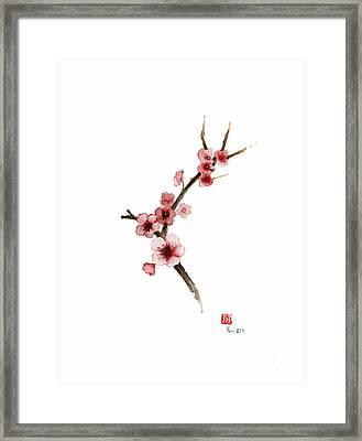 Spring Gift Flowers Pink Sakura Purple Brown Bloom From Cherry Blossom Watercolor Painting Framed Print by Johana Szmerdt