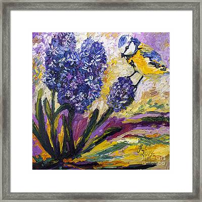 Spring Hyacinth And Titmouse Songbird Framed Print by Ginette Callaway