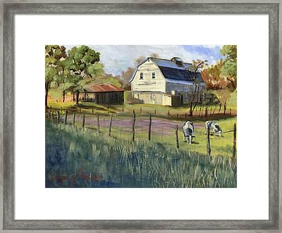 Spring Lake Smiling Barn Framed Print by Jeff Brimley