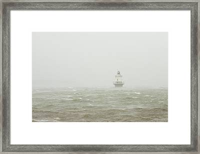 Spring Point Ledge Lighthouse In Storm In Portland Maine Framed Print by Keith Webber Jr