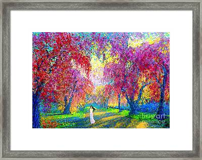 Spring Rhapsody, Happiness And Cherry Blossom Trees Framed Print by Jane Small