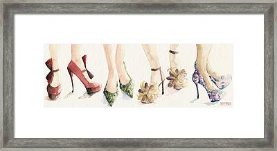 Spring Shoes Watercolor Fashion Illustration Art Print Framed Print by Beverly Brown