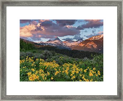 Spring Sunset In The Tetons Framed Print by Leland D Howard