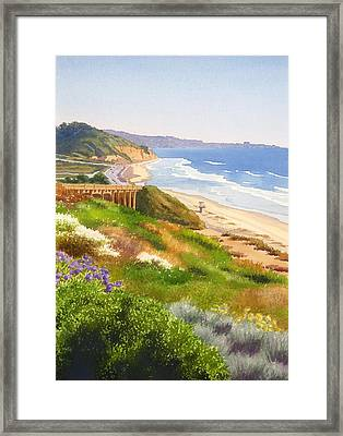 Spring View Of Torrey Pines Framed Print by Mary Helmreich