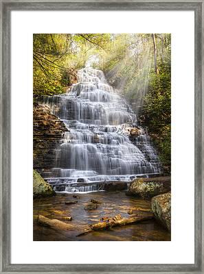 Springtime At Benton Falls Framed Print by Debra and Dave Vanderlaan