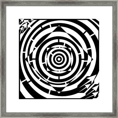 Square Bent Maze Framed Print by Yonatan Frimer Maze Artist