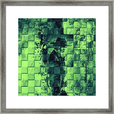 Square Mania - Old Man - Limeblue Framed Print by Emerico Imre Toth