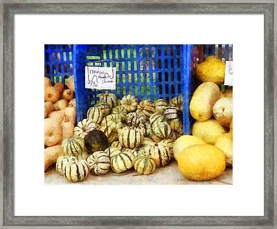 Squash At Farmer's Market Framed Print by Susan Savad
