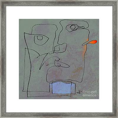 Squigglehead With Blue Scarf And Red Ear  Framed Print by Paul Davenport