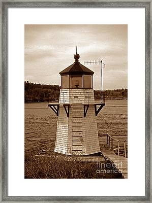 Squirrel Point Sepia Framed Print by Skip Willits