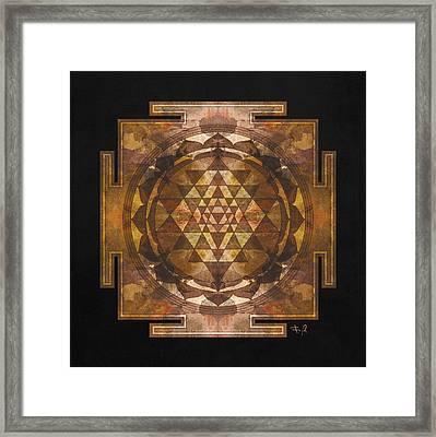 Sri Yantra Gold Framed Print by Filippo B
