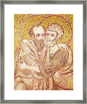 Saints Peter And Paul Embracing Framed Print by Byzantine School