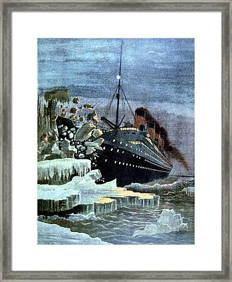 Ss Titanic Colliding With An Iceberg Framed Print by Universal History Archive/uig