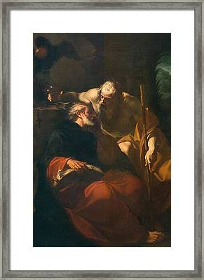 St. Benedict And A Hermit Framed Print by Domenico Maria Viani