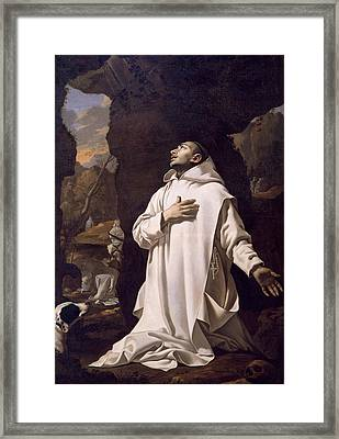 St Bruno Praying In Desert Framed Print by Nicolas Mignard