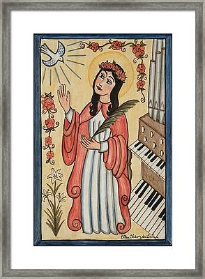 St. Cecilia With Organ And Dove Framed Print by Ellen Chavez de Leitner
