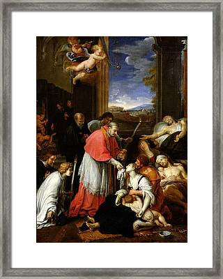 St. Charles Borromeo 1538-84 Administering The Sacrament To Plague Victims In Milan In 1576 Oil Framed Print by Pierre Mignard