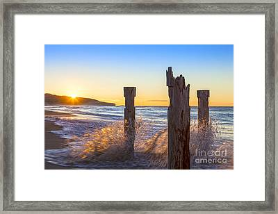 St Clair Beach Dunedin At Sunrise Framed Print by Colin and Linda McKie