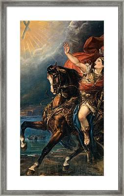 St Ephysius On Horseback Framed Print by De Belly Tommaso