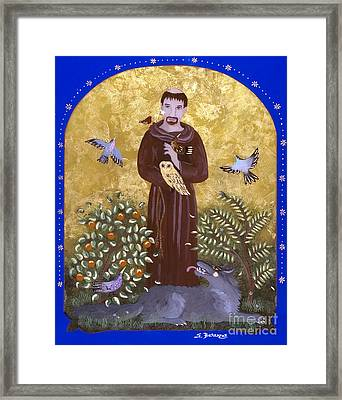 St. Francis And The Wolf Framed Print by Sue Betanzos