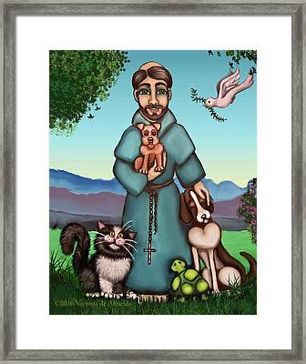 St. Francis Libertys Blessing Framed Print by Victoria De Almeida