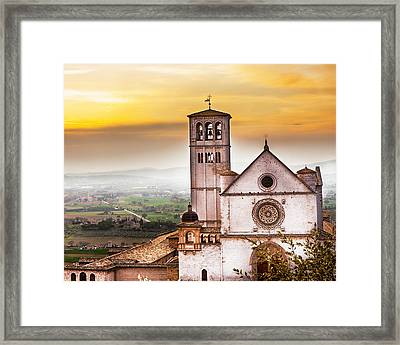 St Francis Of Assisi Church At Sunrise  Framed Print by Susan Schmitz