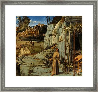 St Francis Of Assisi In The Desert Framed Print by Giovanni Bellini