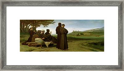 Saint Francis Of Assisi, While Being Carried To His Final Resting Place At Saint-marie-des-anges Framed Print by Francois Leon Benouville