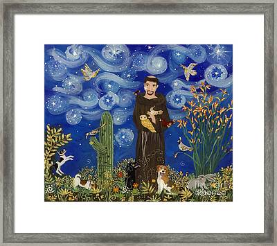 St. Francis Starry Night Framed Print by Sue Betanzos