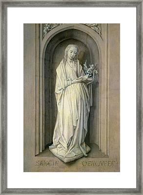 St. Genevieve D.c.500, C.1479 Panel Framed Print by Hugo van der Goes