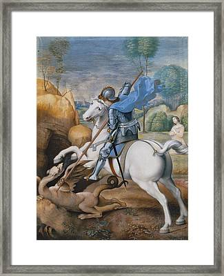 St George And The Dragon Framed Print by Peter Oliver