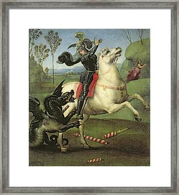 St George Struggling With The Dragon Framed Print by Celestial Images